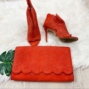 Aldo matching clutch and floral shoe set